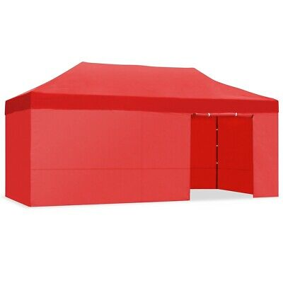 Carpa plegable 3x6m impermeable eventos plegado facil color Rojo Gazebo -McHaus