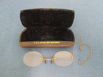 Vintage CWS optical department Manchester reading glasses pince nez with case