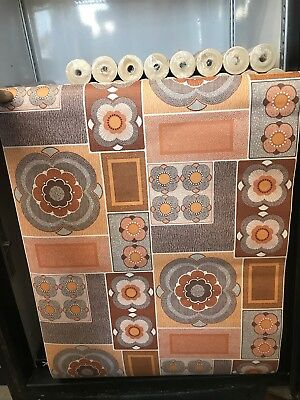 Vintage 60s 70 Retro Wallpaper Roll Geometric Floral Art Deco Mid Century House