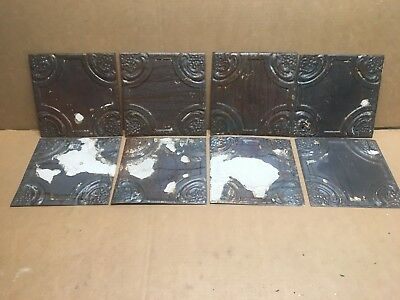 "8pc Lot of 8"" by 8"" Antique Ceiling Tin Vintage Reclaimed Salvage Art Craft"