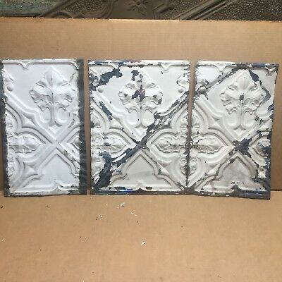 "3pc Lot of 12"" by 8"" Antique Ceiling Tin Vintage Reclaimed Salvage Art Craft"