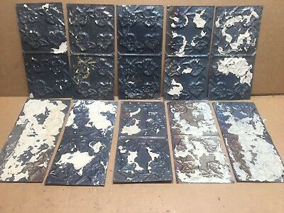 """10pc Craft Lot 11"""" by 6"""" Antique Ceiling Tin Metal Reclaimed Salvage Art"""