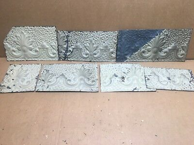 """7pc Craft Lot 8"""" by 6"""" Antique Ceiling Tin Metal Reclaimed Salvage Art"""