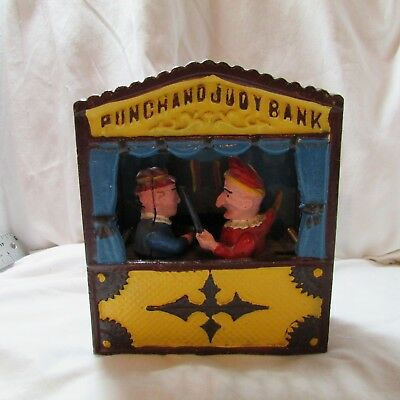 Vintage Repro Cast Iron Mechanical Bank, Punch & Judy Puppet Show