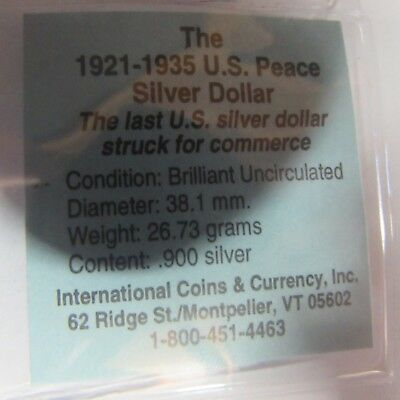 1923 U.S. Peace Silver Dollar. Brilliant Uncirculated. (D3)