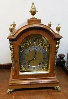 winterhalder & hofffmeir oak and brass bracket clock 1/4 strike