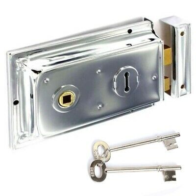 "TRADITIONAL 1920s CHROME VICTORIAN RIM LOCK Reversible Large 6"" x 4"" Door Latch"