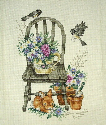 Completed Counted Cross Stitch Unframed Tapestry Picture Garden Seat