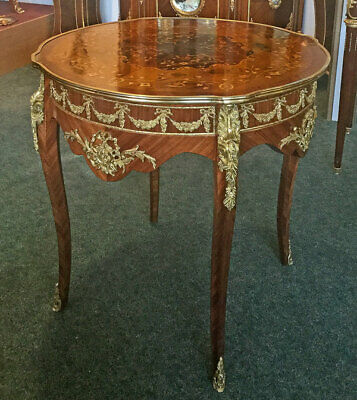 NEOCLASSICAL veneered FRENCH TABLE, runder SALONTISCH, goldene BRONZE-APPLIKEN