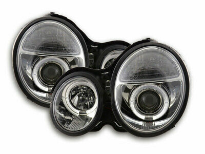 Scheinwerfer Set Angel Eyes Mercedes E-Klasse Typ W210 Bj. 99-01 chrom