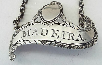 Madeira Wine Decanter Label Convex  Sterling Silver Georgian Hester Bateman 1774