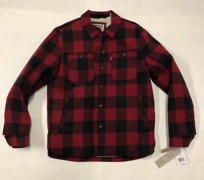 310ed867482ec Mens Levis Red Buffalo Plaid Water Resistant Sherpa Fur Lined Jacket Coat  Small