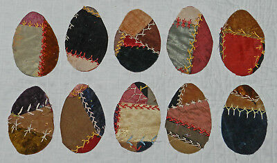 10 PRIMITIVE ANTIQUE CUTTER CRAZY QUILT EGGS! EASTER! Scrapbooking! Applique! #9