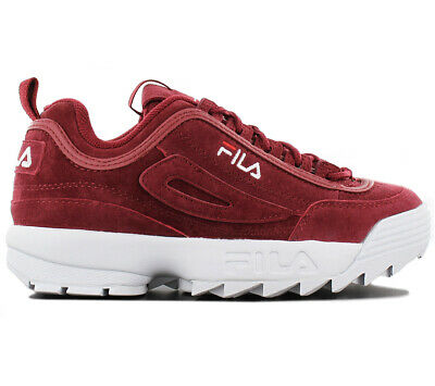 FILA DISRUPTOR LEATHER S Low CR Damen Sneaker Schuhe Leder Rot 1010553.40K  NEU