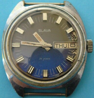 rare old vintage antique Russian SLAVA men day date wrist watch~26 jewels