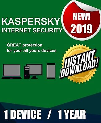 Kaspersky Internet Security 2019 1 Pc Device 1 Year  Best Antivirus License