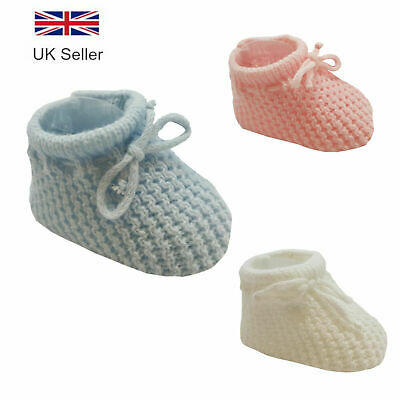 Baby Knitted Booties - Boys & Girls, Blue White & Pink, 0-3 Months by Soft Touch