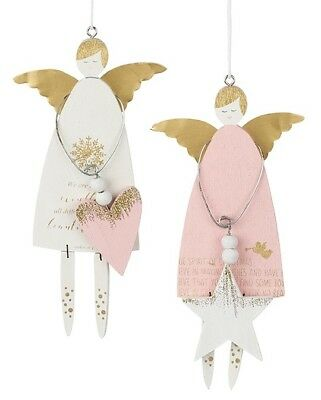 Sweet Angels with Heart / Star and Gold Wings Hanging Wooden Decoration Ornament