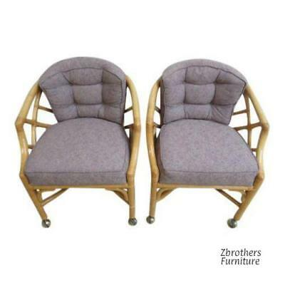Pair Vintage Ficks Reed Rattan Bamboo Arm Chairs  B