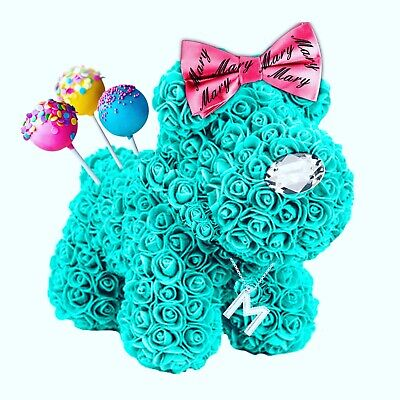 Rose Bear- Rose Dog in Teal with custom bow, pops & necklace. ROSE BEAR DELUXE.