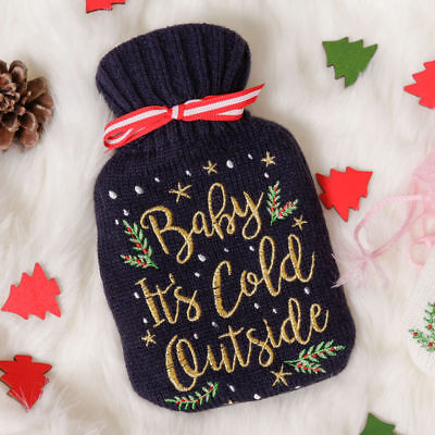 "LUXURY Hot Water Bottle ""Baby It's Cold Outside"" Knitted Cover Christmas Gift"