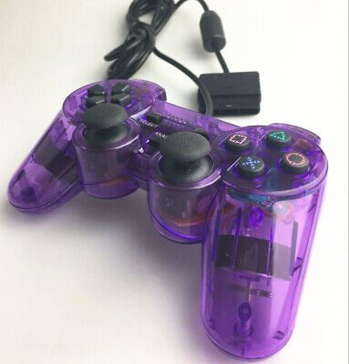 NEW Wired Purple Dual Shock Controller for PS2 PlayStation Joypad Gamepad UK