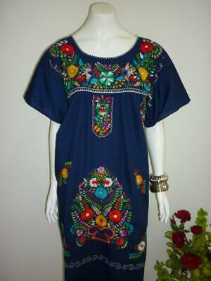 NAVY BLUE HAND Embroidered Peasant Mexican Pueblo Dress Tunic Boho ...