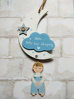 SALE!  BABY BOY SLEEPING Wooden Angel Moon & Cloud Hanging Plaque Nursery Decor