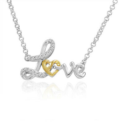 1/10ct Natural Diamond Heart in Love Pendant in Sterling Silver with 14K Gold