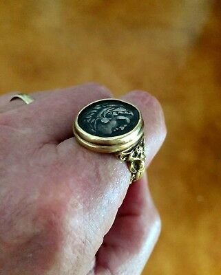 18K Gold Ring with Ancient Alexander III the Great AR Silver Drachm