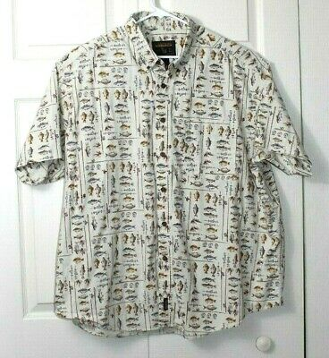 b9451870 John Rich & Bros Woolrich mens sixe 3X big freshwater fish button down shirt