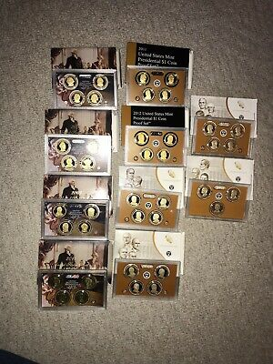 2007-2016-S US Mint Presidential Proof sets as shown 39 Coins- Boxes & COA's