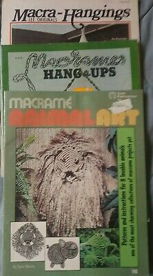 3  Macrame Craft Pattern Book Lot Animals, Planters Home Decor, Wall Hangings