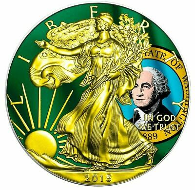 2015 1 Oz Silver AMERICAN EAGLE STATE FLAG WASHINGTON Coin WITH 24K Gold Gilded.