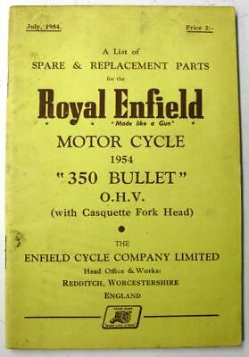 ROYAL ENFIELD 350 Bullet Jul 1954 Motorcycle Owners Parts List