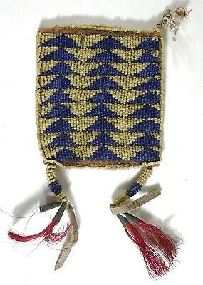 1890s NATIVE AMERICAN APACHE INDIAN BEAD DECORATED HIDE BAG RATION CARD POUCH