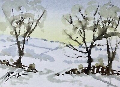 ACEO  ATC original art painting by Bill Lupton - Snow on the Hills