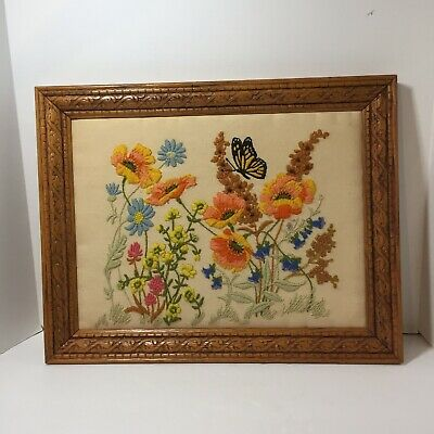 """Floral Crewel Embroidery Finished and Framed 14.5"""" x 18.5"""" Butterfly"""