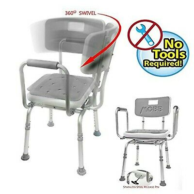 MOBB Premium Bathroom Swivel Shower Chair Bath Bench with Back, 360 Swivel