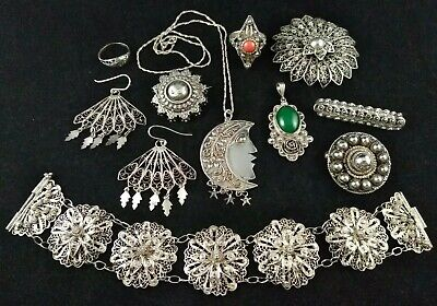 Antique Vtg Sterling Silver Etruscan Filigree Mixed Jewelry Lot Not Scrap 65g