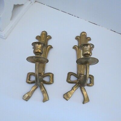 Pair of vintage brass wall candle holders with bow decoration