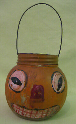 Rare Hard to Find 1905 Painted Glass Jack-O-Lantern