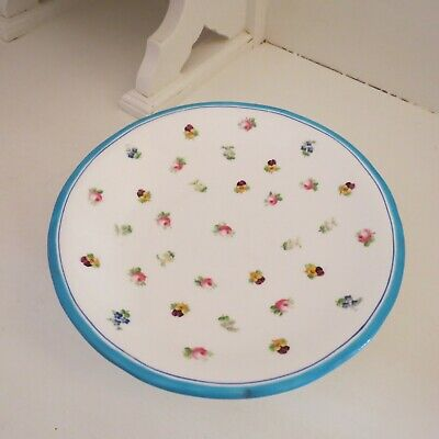 Antique footed comport dish minton 1844 hand painted roses & pansies