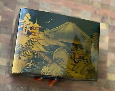 Antique Oriental Musical Jewelry Box Hand Painted Gold Black 1960's Authentic