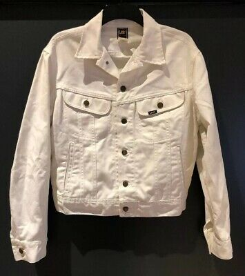 Vintage 50/50 Made In USA Lee Rider Denim Jacket White Size M Union Medium 80's