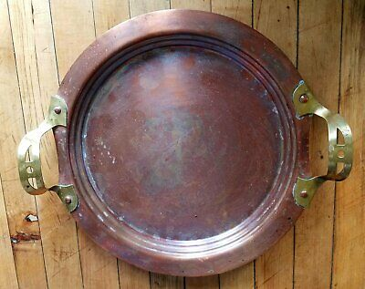 Arts & Crafts Mission copper tray w riveted brass handles