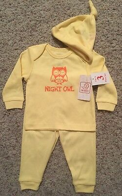 NEW Baby NIGHT OWL Size 3-6 Months Yellow Outfit Long Shirt Pants Hat Set Unisex