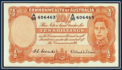 gVF 10 shilling Banknote Coombs/Wilson 1952  A/93-606463 R15