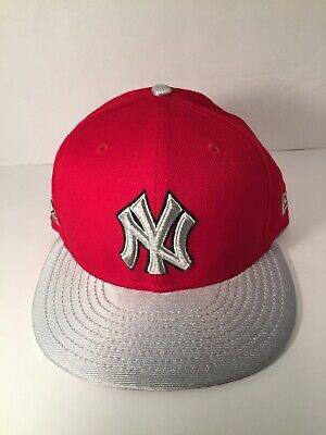 25323b5ee92 NEW ERA 59FIFTY New York Yankees Fitted Hat (Red Silver) Men s MLB ...