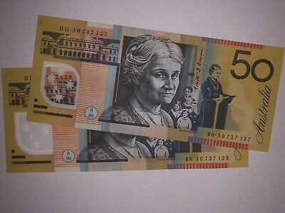 2 Consecutive $50 Uncurculated Notes (old, australia)